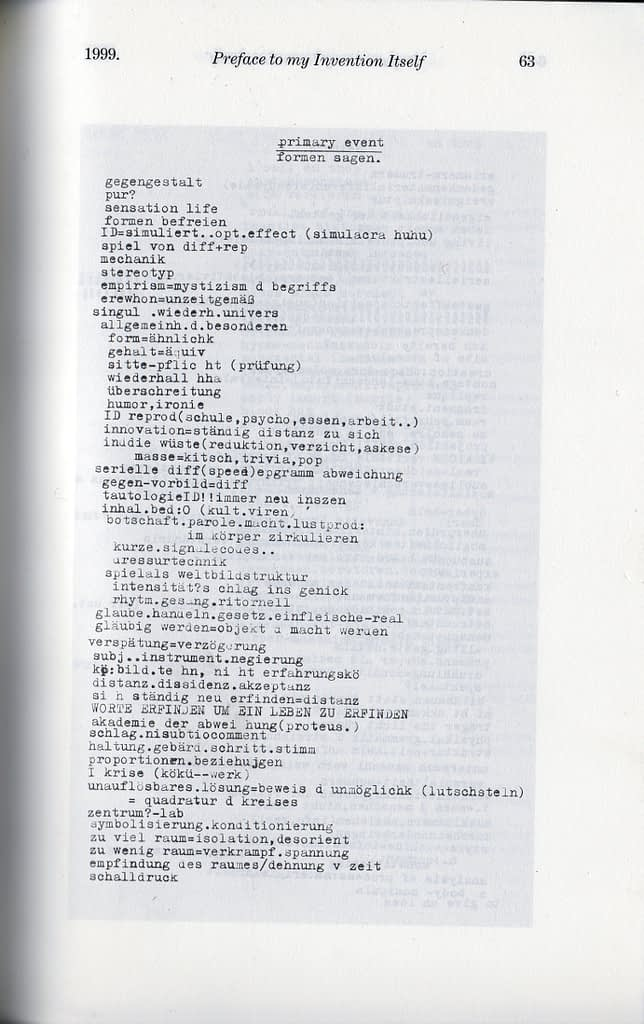 Preface to my Invention Itself / 1999 / 3 Pages published / in THE METRONOME or Backwards Translation (No.456), Frankfurt, Vienna, Bordeaux, Edinburgh, Biella